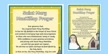 Saint Mary MacKillop Prayer A4 Display Poster-Australia