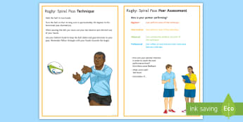Rugby: Handling - Spiral Pass Techniques Card - Rugby, Handling, passing, Spiral pass, technique, peer and self assessment