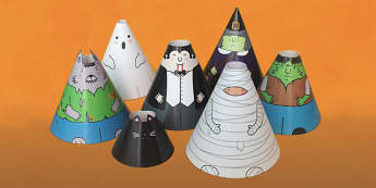 Halloween Cone Characters - halloween, craft, cone, characters