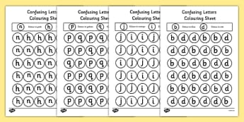 Confusing Letters Colouring Worksheets Pack - colour in, alphabet