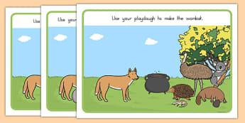 The Stew Playdough Mats - australia, wombat stew, marcia k vaughan, story book, playdough mats