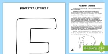 Litera E Poveste - clasa pregătitoare, litere, literă, povestea literei e, povestea literelor, de colorat, litere de