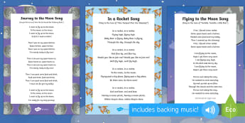Space Bear Themed Songs and Rhymes Resource Pack - EYFS, Early Years, space, rocket, moon, stars