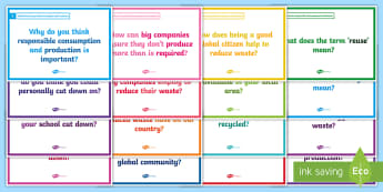 Global Goals: Responsible Consumption and Production Blether Stations - Learning For Sustainability, UNICEF, GG12, waste, recycling,