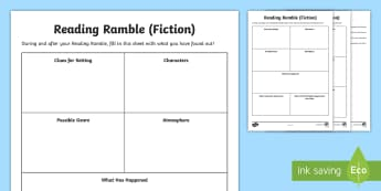 Reading Ramble Activity Sheets - literacy, hook, starter, reading comprehension strategies, reading, before reading strategies, works