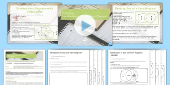 Introduction to Sets and Venn Diagrams Lesson Pack - Sets, Probability, elements, overlap, Conditional, Combined Events, worded