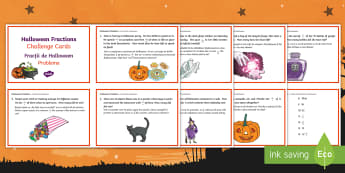 Year 5 Halloween Fractions Maths Challenge Cards English/Romanian - Priority Fractions, fractions, year 5, Y5,  fractions of amounts, challenge, maths, numeracy, number