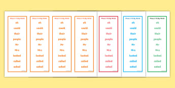 Phase 5 Tricky Word Bookmarks - Bookmark, Phase 5, phase five, Tricky words, writing aid, DfES Letters and Sounds, Letters and sounds, bookmark template, gift, present, reward, achievement
