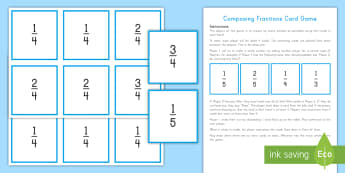 Decomposing and Composing Fractions Card Game - composing fractions, decomposing fractions, adding fractions, subtracting fractions, fourth grade fr
