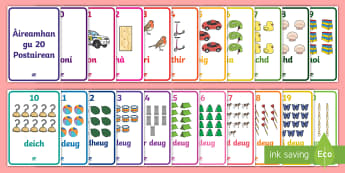 Aireamhan gu 20 Postairean - Cfe, Early Level, First Level, Numbers to 20, Gaelic, Posters, numbers to 20, wall displays, classro