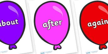 KS1 Keywords on Party Balloons - KS1, CLL, Communication language and literacy, Display, Key words, high frequency words, foundation stage literacy, DfES Letters and Sounds, Letters and Sounds, spelling