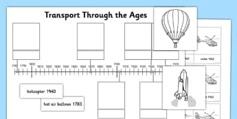 Transport Through the Ages Activity Sheet - transport, through the ages, ages, history, activity sheet, activity, sheet, worksheet