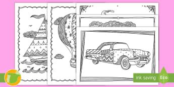 Hojas de colorear: El transporte - Mindfulness - mindfulness, colorear, colorea, colores, pintar, relax, relajarse, relajo, estrés, transporte, coch