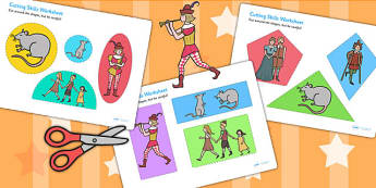 The Pied Piper Themed Cutting Skills Worksheet - motor skills