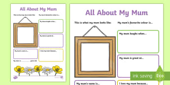 All About My Mum Activity Sheet - ESL Mother's Day Resources
