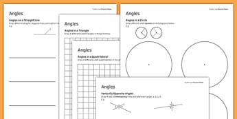 KS3_KS4 Maths Student Led Practice Sheets Angles - maths, KS3, KS4, GCSE, worksheet, practise, independent, growth mindset, measure, area, perimeter, rectangle, triangle, parallelogram