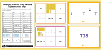 Identifying Numbers Using Different Representations Bingo - Number and Place Value, shanghai maths, singapore maths, maths mastery, problem solving, maths maste