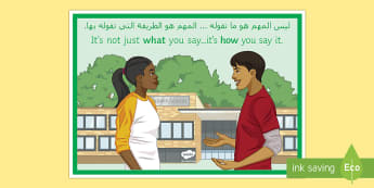 It's Not Just What You Say... A4 Display Poster- Arabic/English - display, behaviour, pastoral, EAL Arabic,-translation