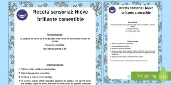 Receta sensorial: Nieve brillante comestible Receta sensorial comestible - receta, sentidos, comestible, receta sensorial, nieve, invierno,Spanish