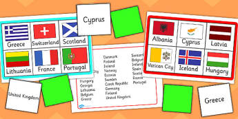 Europe Flags Bingo - europe, flags, bingo, activity, game, class