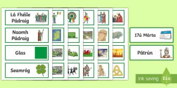Saint Patrick Word Cards - la feile padraig, Lá féile Pádraig, La Fheile Phadraig, lá le Phádraig, ROI - St. Patrick's Day Resources, Lá Fhéile Pádraig, parade, páraid, Ireland, Irish language w