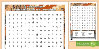 Global Goals: Sustainable Cities and Communities Word Search - Skim, scan, keyword, wordsearch, global issues, global citizenship,Scottish