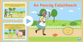 OI The Runaway Pancake as Gaeilge PowerPoint - Pancake Tuesday, Lent, Pancakes, Máirt na hInide, The Runaway Pancake, An Pancóg Éalaitheach, Iri