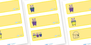The Three Little Pigs editable Drawer, Peg, Name Labels - Editable Label Templates, Three Little Pig, Resource Labels, Name Labels, Editable Labels, Drawer Labels, Coat Peg Labels, Peg Label, KS1 Labels, Foundation Labels, Foundation Stage Labels, Te