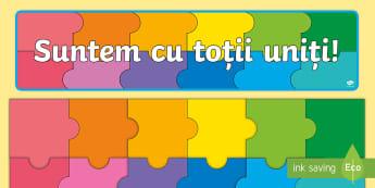 Suntem cu toții uniți Puzzle - septembrie, noul an școlar, din nou la școală, noua clasă, revenirea la școală,Romanian