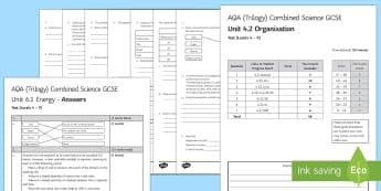 AQA (Trilogy) Unit 4.2 Organisation Test - KS4 Assessment, Test., blood, platelets, food test, digestion, enzymes, Statins