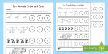 Zoo Animals Counting Activity Sheet - Early Childhood Animals, Animals, Pre-K Animals, K4 Animals, 4K Animals, worksheet, Preschool Animal