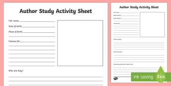 World Book Day Author Study Activity Sheet - world book day, author, writer, favourite author, study, research activity, favorite book, story, fi
