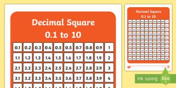 Decimal Square 0.1 to 10 Activity - decimal square, decimal, square, decimals, number square, numbers, activity