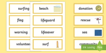 Surf Life Saving Australia Word Cards-Australia