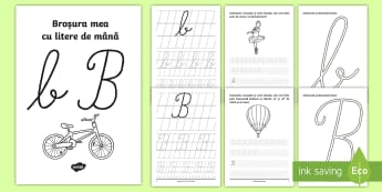 """Scrierea literelor """"b"""" și """"B"""" de mână Broșură cu activități - alfabetul, scriere, litere, de mână, grafisme"""