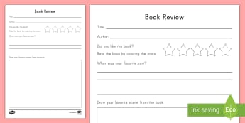 Book Review Activity Sheet - Book review, opinion writing, favorite book, ELA, worksheet