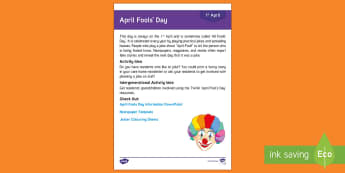 April Fool's Day Adult Guidance - Calendar Planning April 2017, Activity Coordinators, Support, Planning, Elderly Care, Care Homes, Ap