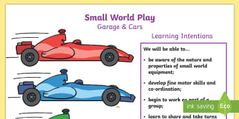 P.B.L. Small World Garage and Cars - Learning Intentions A4 Display Poster - PBL, play-based learning, Primary 1, Primary 2, vehicle, play, wheel