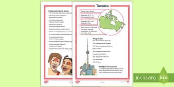 Toronto Fact File - Canada's 150th Birthday, Social Studies, Geography, Canada, Toronto, Ontario, Capital City of Ontar
