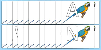 A-Z Alphabet on Parrots - A-Z, A4, display, Alphabet frieze, Display letters, Letter posters, A-Z letters, Alphabet flashcards