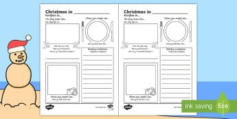 Comparing Christmas around the World Writing Frames English/Afrikaans - December, celebrate, facts, research, flag, food, EAL
