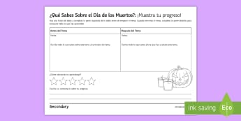 KS3 Mexican Day of the Dead Learning Progression Activity Sheet Spanish - Halloween, Day, Dead, assessment, show, progress, Traditions, worksheet