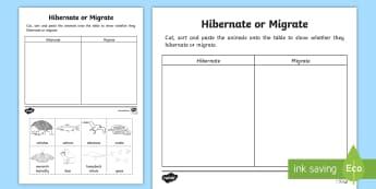 Animals That Hibernate or Migrate Activity Sheet-Australia - hibernation, migration, ACSSU211, needs of animals, echidna, salmon, albatross, snake, butterfly, be