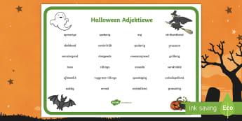 Halloween Adjektiewe Woord mat - Oktober, pampoen, spook, fees, heks, skryf