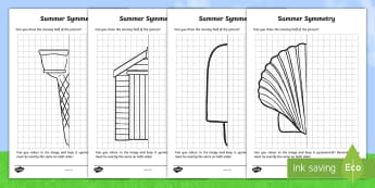 Summer Symmetry Activity Sheets - cfE, maths, first level, colour in, half,challenge worksheets