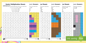 Easter Multiplication Mosaics Differentiated Activity Sheets - Year 3 times tables, Year 4 times tables, LKS2 times tables, Y3 times tables, Yr 4 times tables, LKS