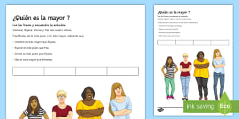 Who Is the Oldest? Activity Sheet - Spanish  - Spanish, superlative, age, guess, oldest, activity, sheet