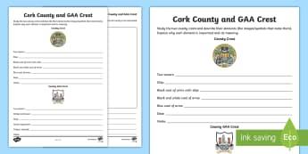 Cork County and GAA Crest Activity Sheet - Worksheet, GAA Football All-Ireland Senior Championship, Hurling, coat of arms, Cork