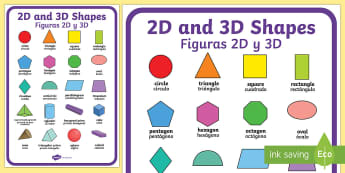 2D and 3D Shapes A2 Display Poster English/Spanish - 2d shapes, 3d shapes, poster, display,shpes,2d shaes, 2Dshape, 3d shaoes, 2d shaoes, 3dshape, 2d sha