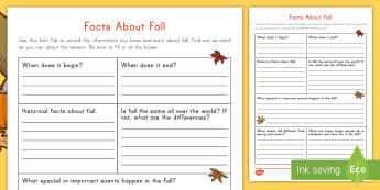 Facts about Fall Research Activity - Autumn, investigate, Seasons, September, October, November, fact file, non-fiction